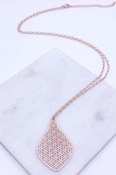 Geometric Cut Out Pendant Necklace