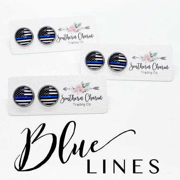 Blue Line Post Earrings