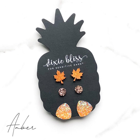 Amber Earrings Trio