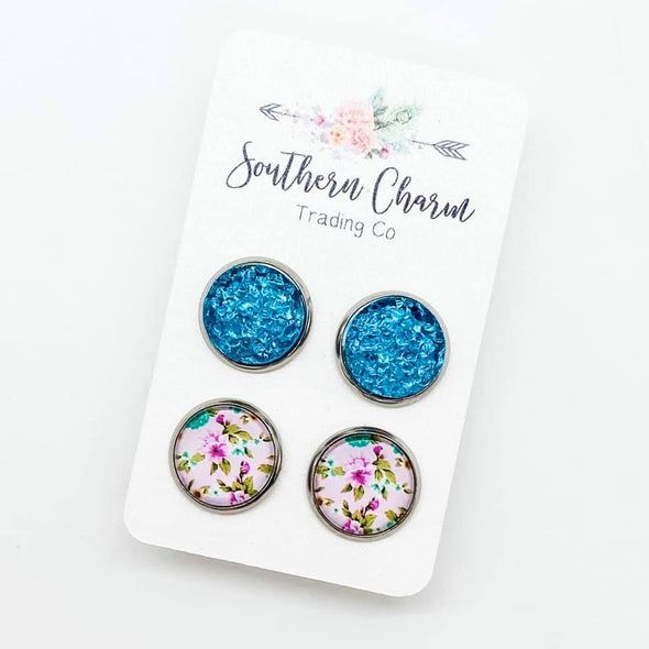 Teal Floral and Druzy Duo