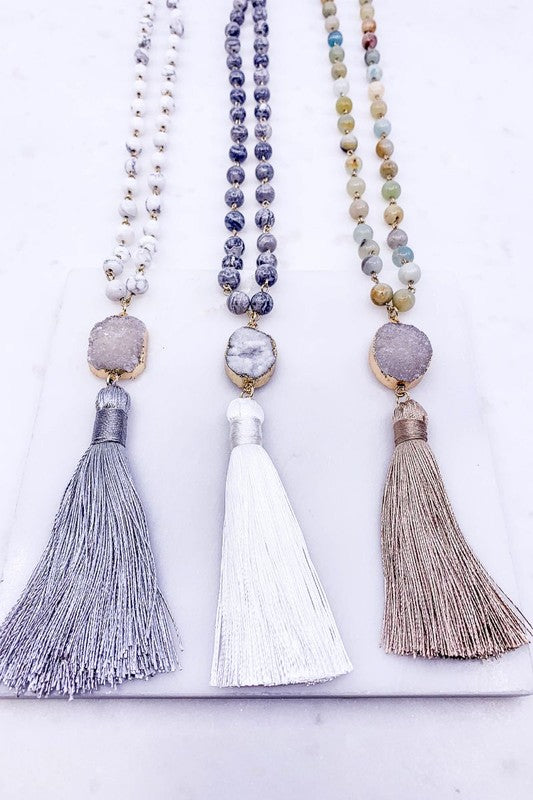 Druzy Stone Tassel Necklace