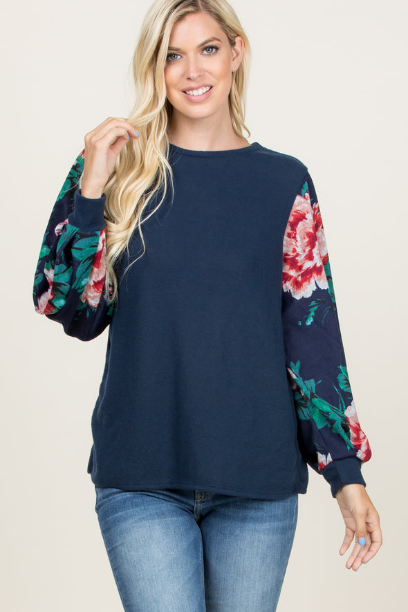 Floral Puff Sleeve Sweater