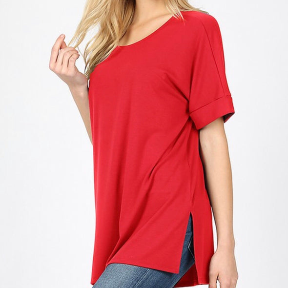 Side Slit Short Sleeve Top