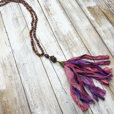 Artisan Silk Tassel Beaded Necklace