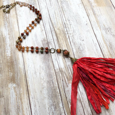Artisan Beaded Silk Tassel Necklace