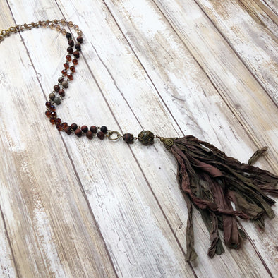 Artisan Earthtone Silk Beaded Necklace