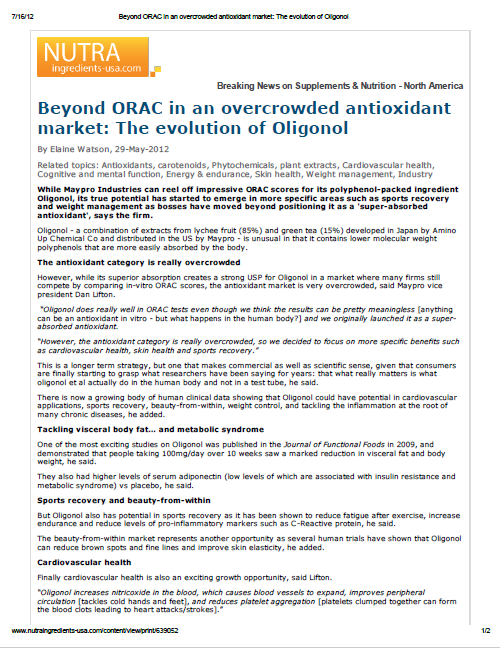 Beyond ORAC in an overcrowded antioxidant market