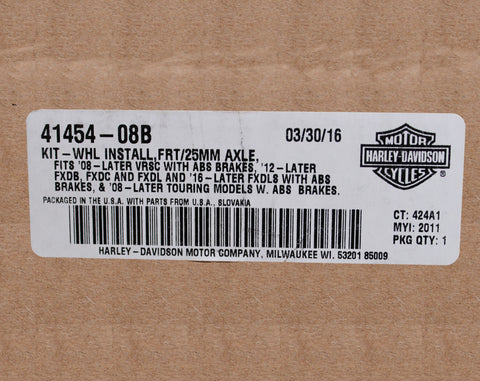 Harley-Davidson Front Wheel Installation Kit PN 41454-08B