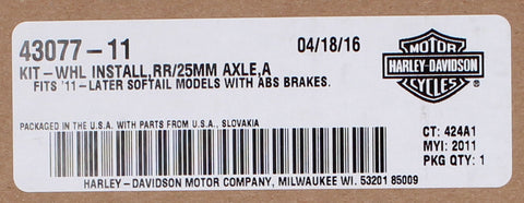 Genuine Harley-Davidson Wheel Installation Kit, RR/25MM Axle, A PN 43077-11