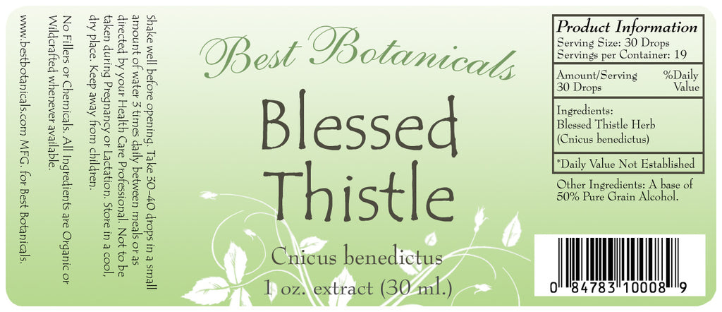 Blessed Thistle Herb Extract Label