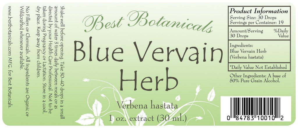 Blue Vervain Herb Extract Label