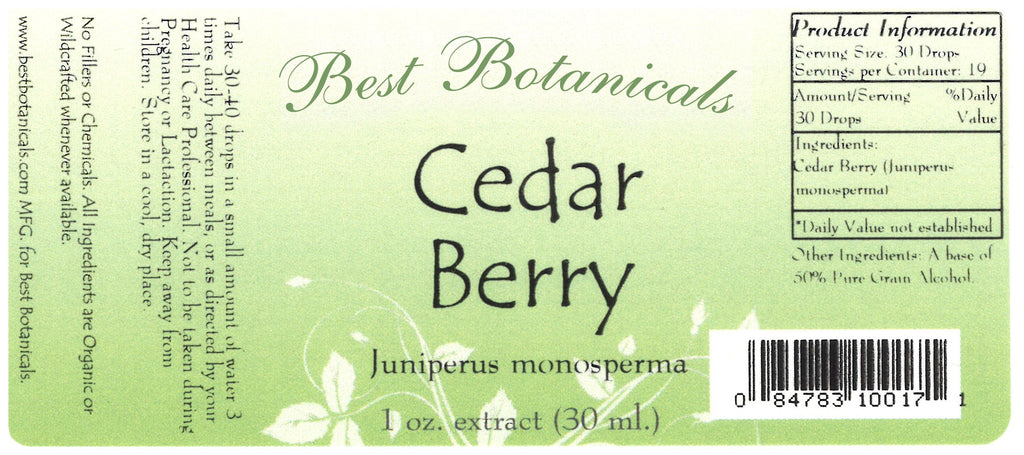 Cedar Berry Extract Label