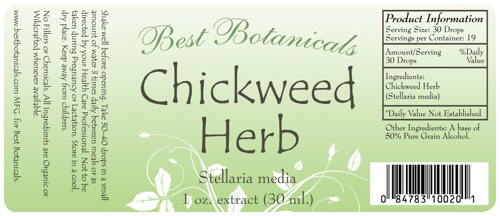 Chickweed Herb Extract Label
