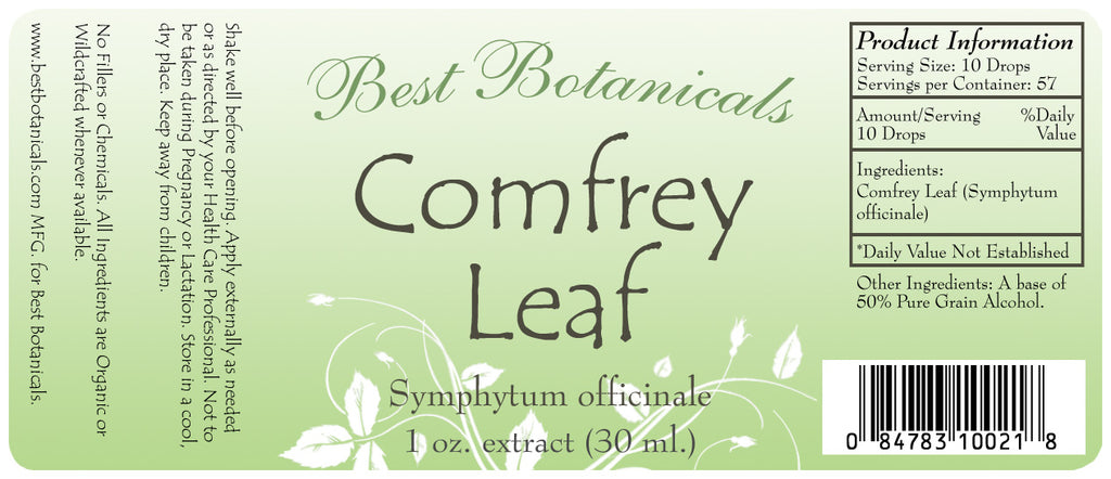 Comfrey Leaf Extract Label