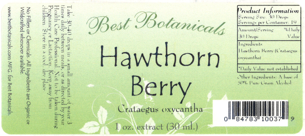 Hawthorn Berry Extract Label