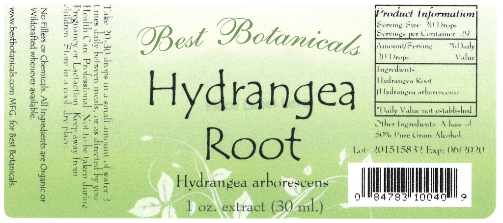 Hydrangea Root Extract Label