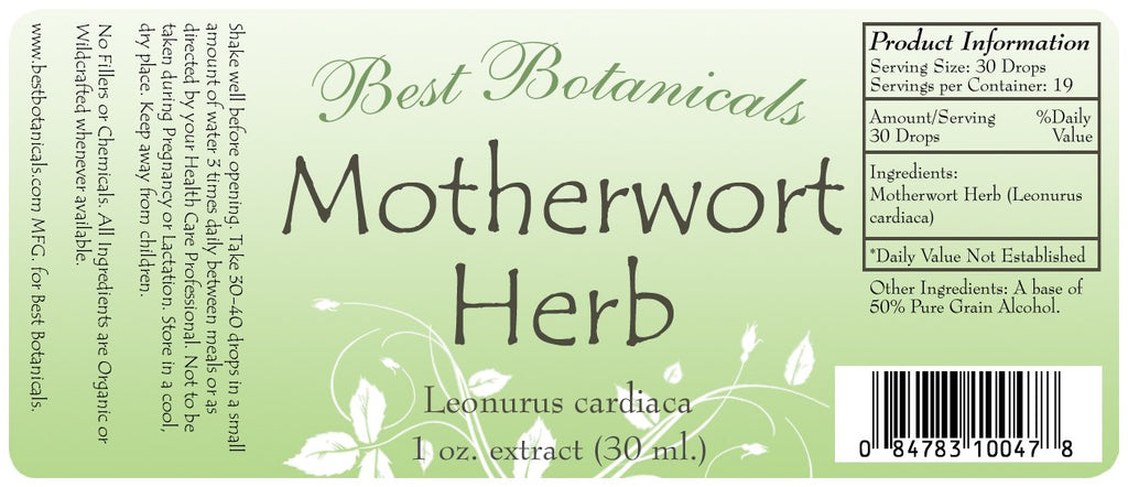 Motherwort Herb Extract Label