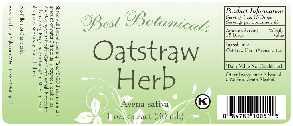 Oat Straw Herb Extract Label