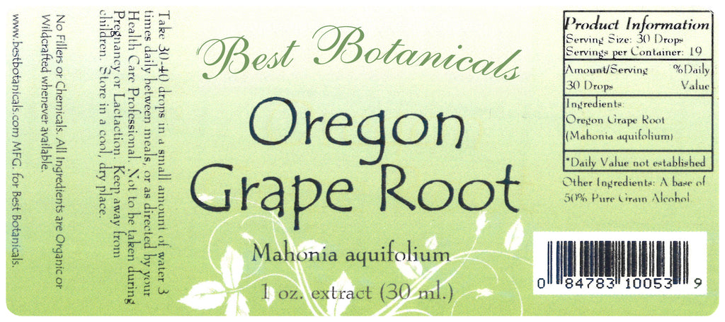 Oregon Grape Root Extract Label
