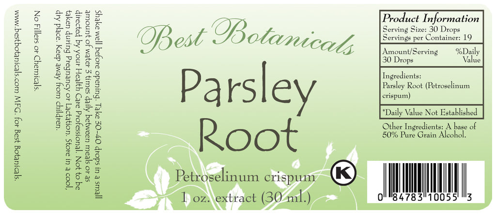 Parsley Root Extract Label