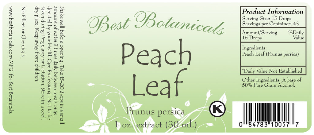 Peach Leaf Extract Label