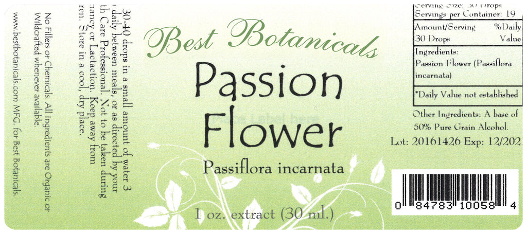 Passion Flower Extract Label