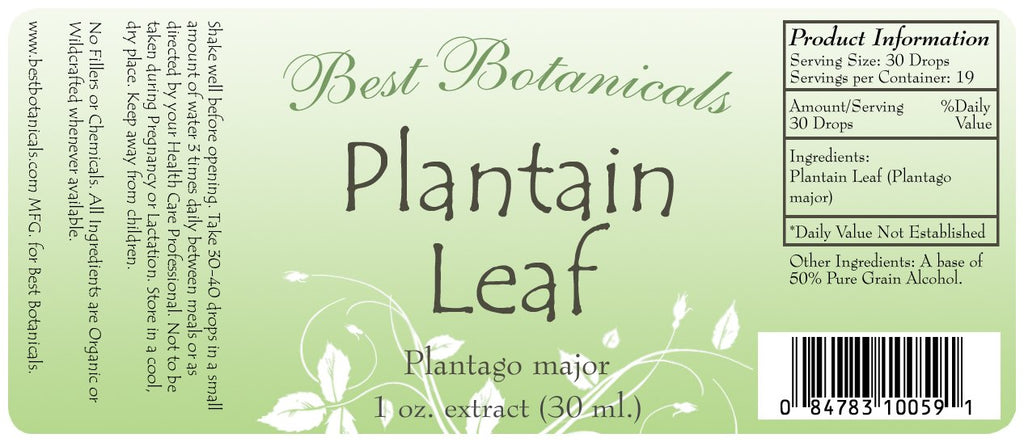 Plantain Leaf Extract Label