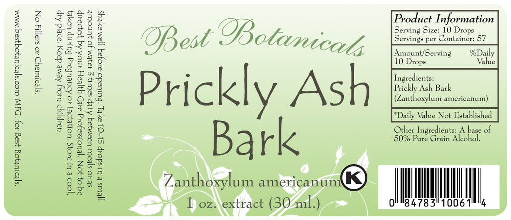 Prickly Ash Bark Extract Label