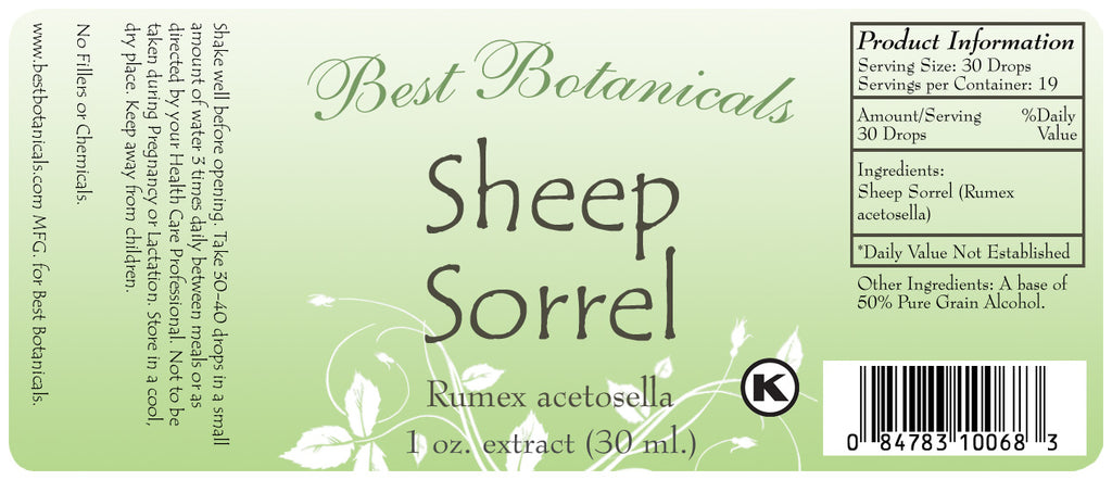 Sheep Sorrel Extract Label