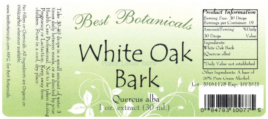 White Oak Bark Extract Label