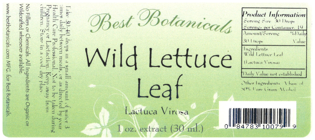 Wild Lettuce Leaf Extract Label