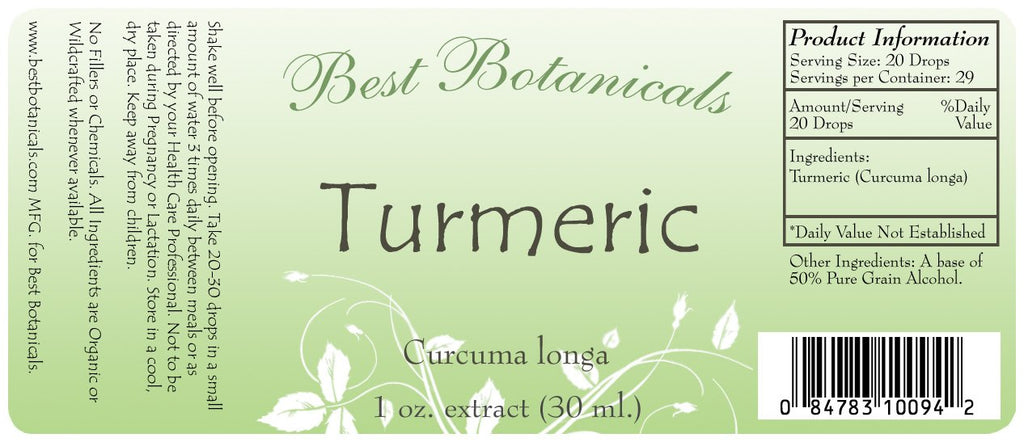 Turmeric Extract Label