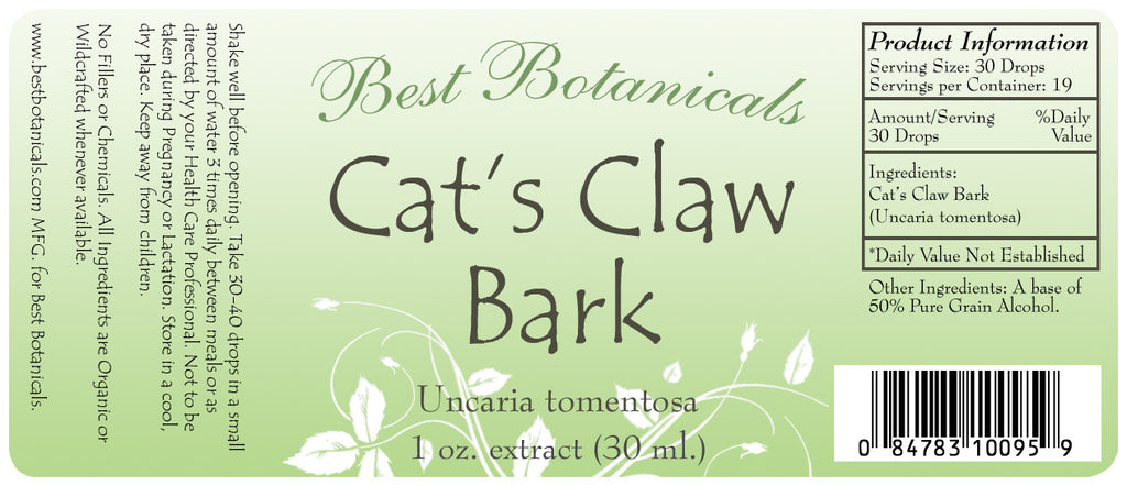 Cat's Claw Bark Extract Label