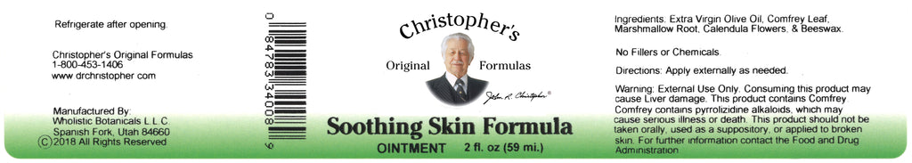 Soothing Skin Ointment Label