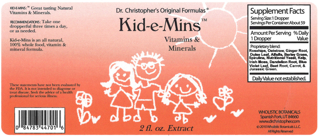 Kid-e-Mins Extract Label