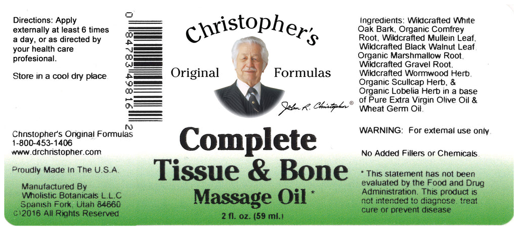 Complete Tissue & Bone Massage Oil 2 oz. Label