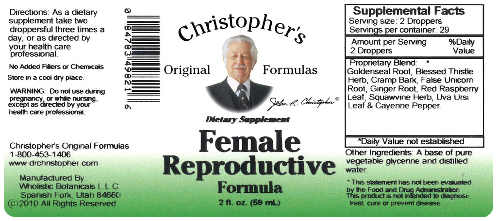 Female Reproductive Extract Label