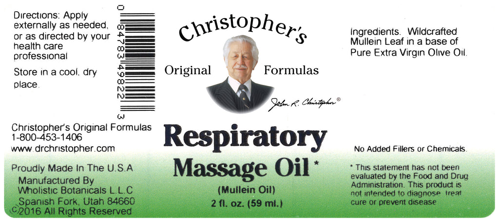 Respiratory Massage Oil Label