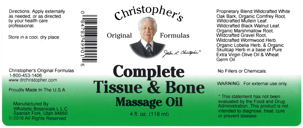 Complete Tissue & Bone Massage Oil 4 oz. Label