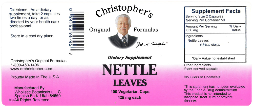 Nettle Leaf Capsule Label