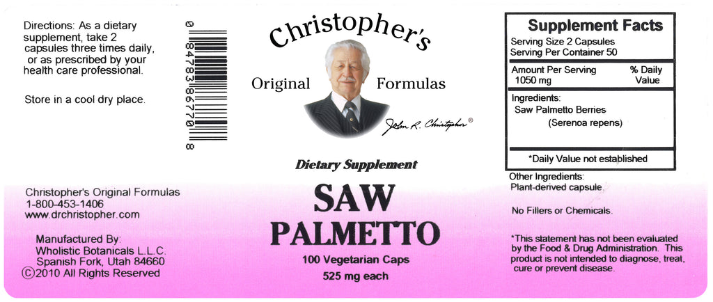 Saw Palmetto Berry Capsule Label