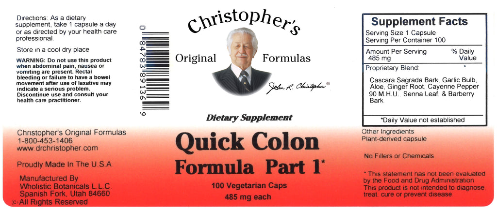 Quick Colon #1 Capsule Label