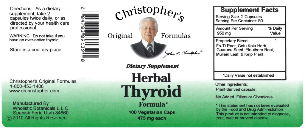 Herbal Thyroid Capsule Label
