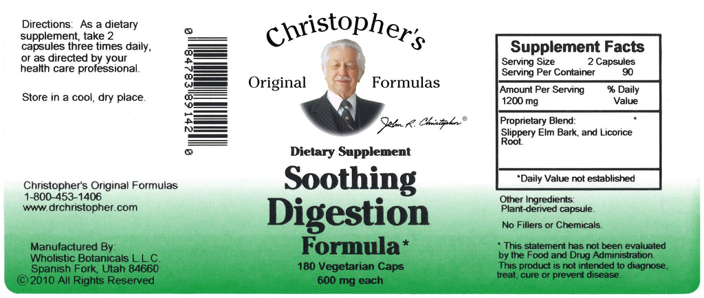 Soothing Digestion Capsule Label