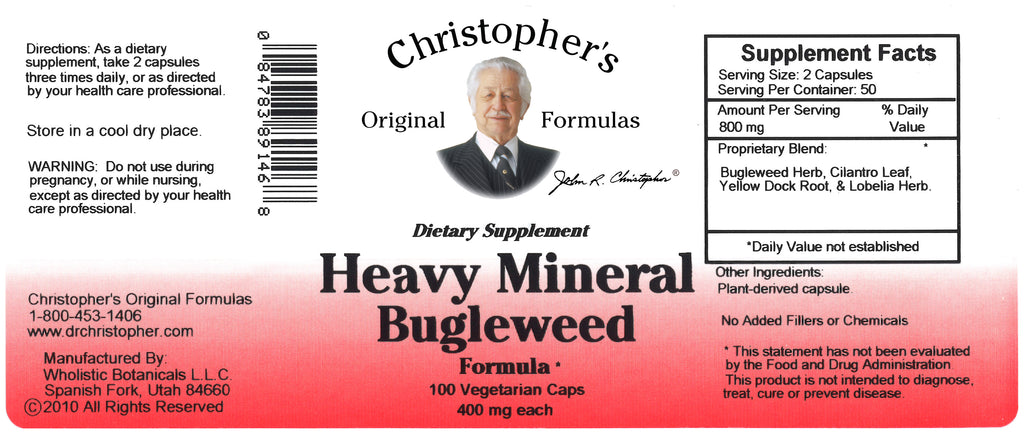 Heavy Mineral Bugleweed Capsule Label