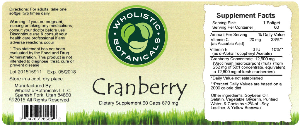 Cranberry Capsule Label