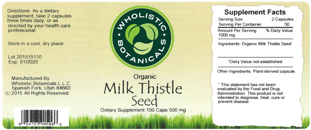 Milk Thistle Seed Capsule Label