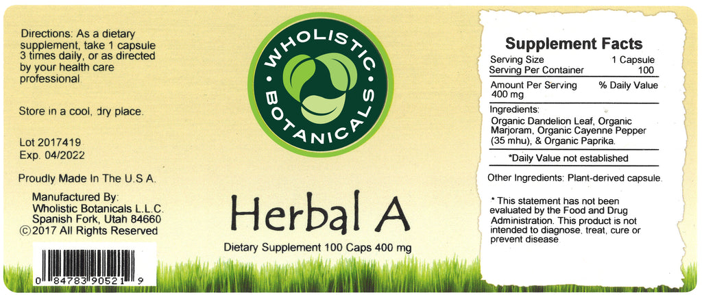 Herbal A Capsule Label