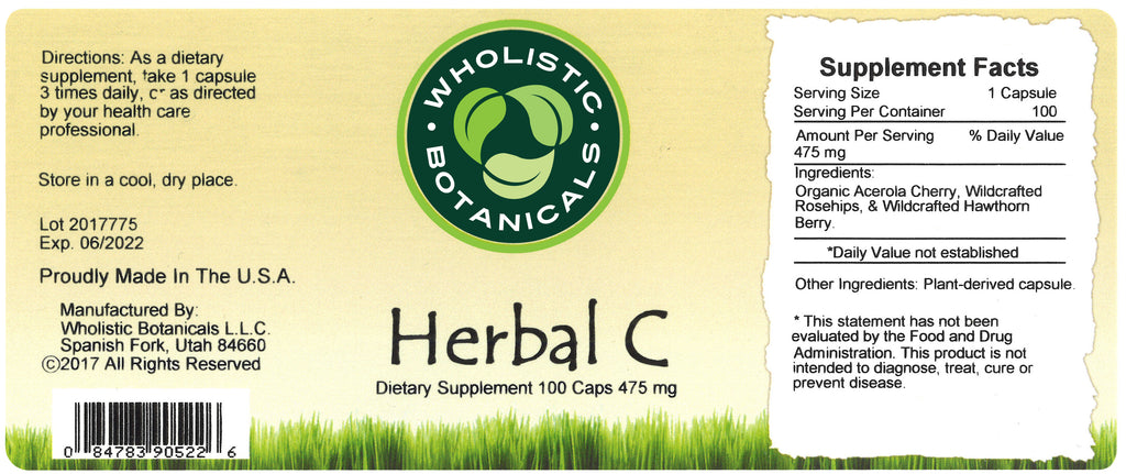 Herbal C Capsule Label
