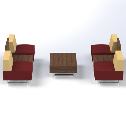 Set of Ethan 2-Seat Sofa with Coffee Table